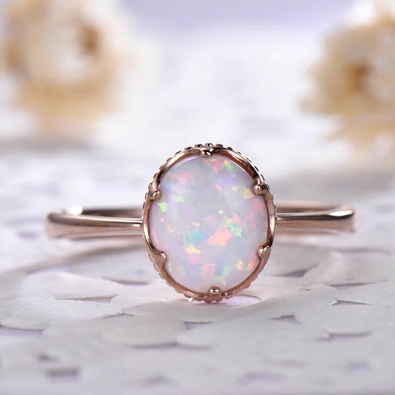 Bezel set opal ring
