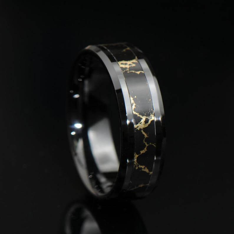 black-onyx-gold-vein-band-etsy