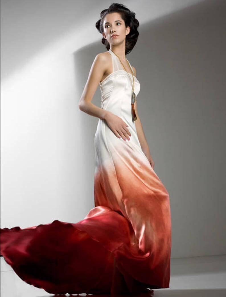 Bride in red simple ombre dress