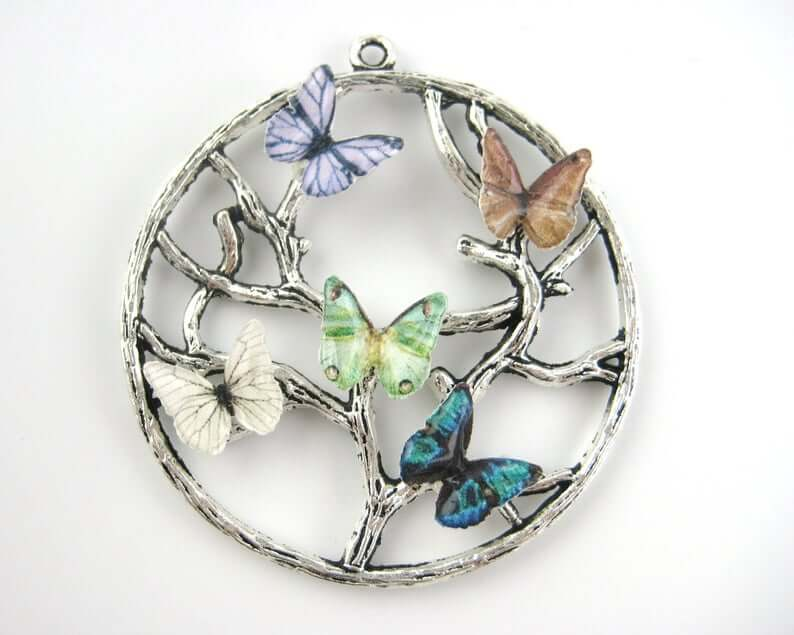 Butterfly tree of life necklace