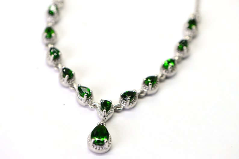 Chrome Diopside drop necklace