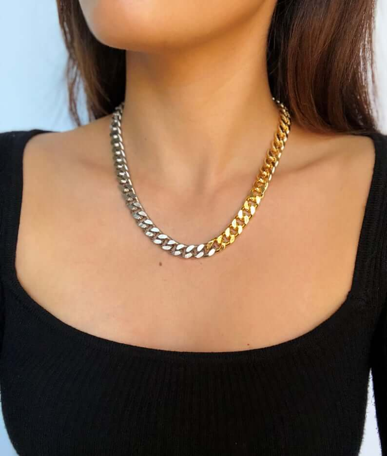 chunky-metal-chain-necklace-etsy