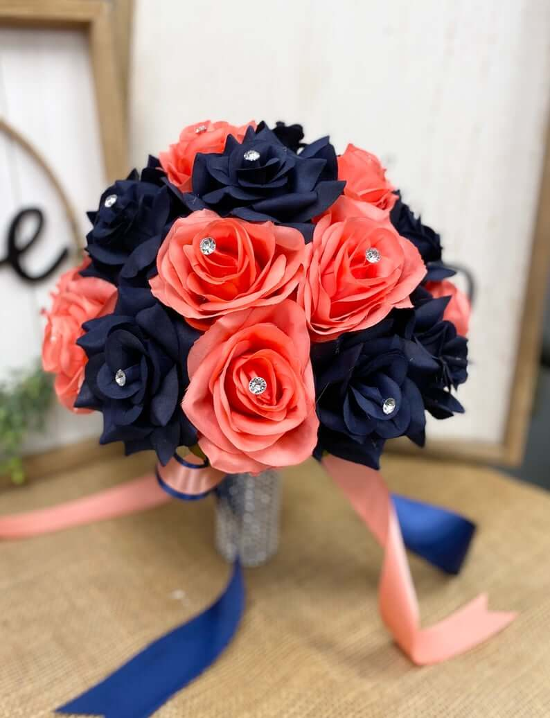 Coral and navy blue bouquet