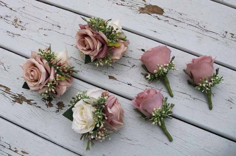 Dusty rose boutonniere