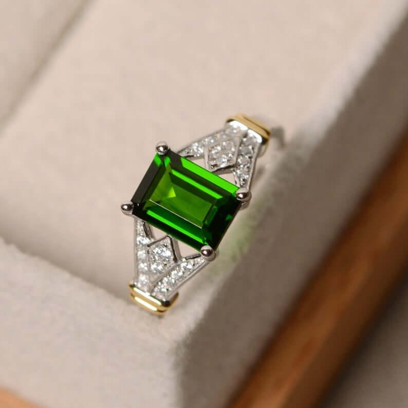 Emerald cut chrome diopside ring