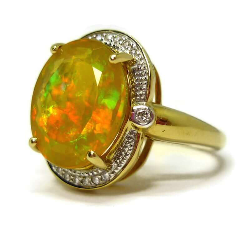 Faceted opal ring