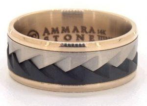 Gold titanium saw tooth ring