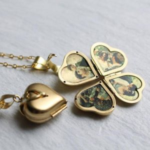 Golden heart shaped locket