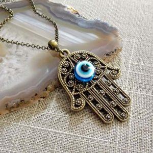 Hamsa evil eye necklace