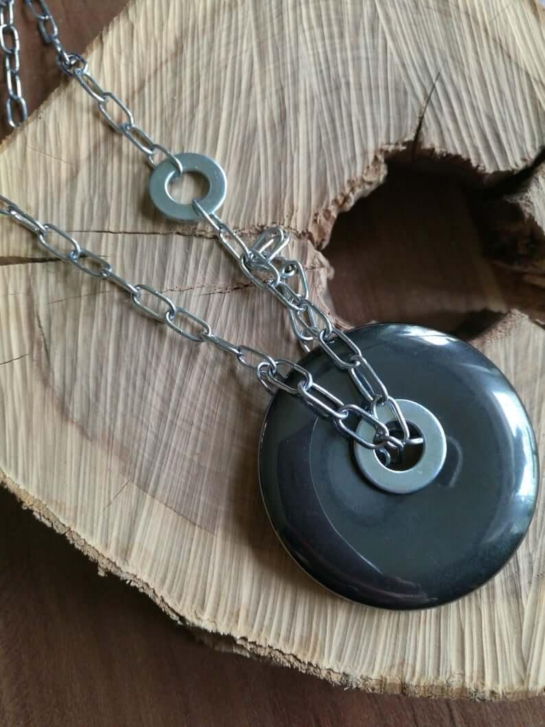 Hematite statement necklace
