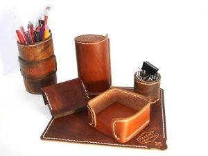 Leather desk set