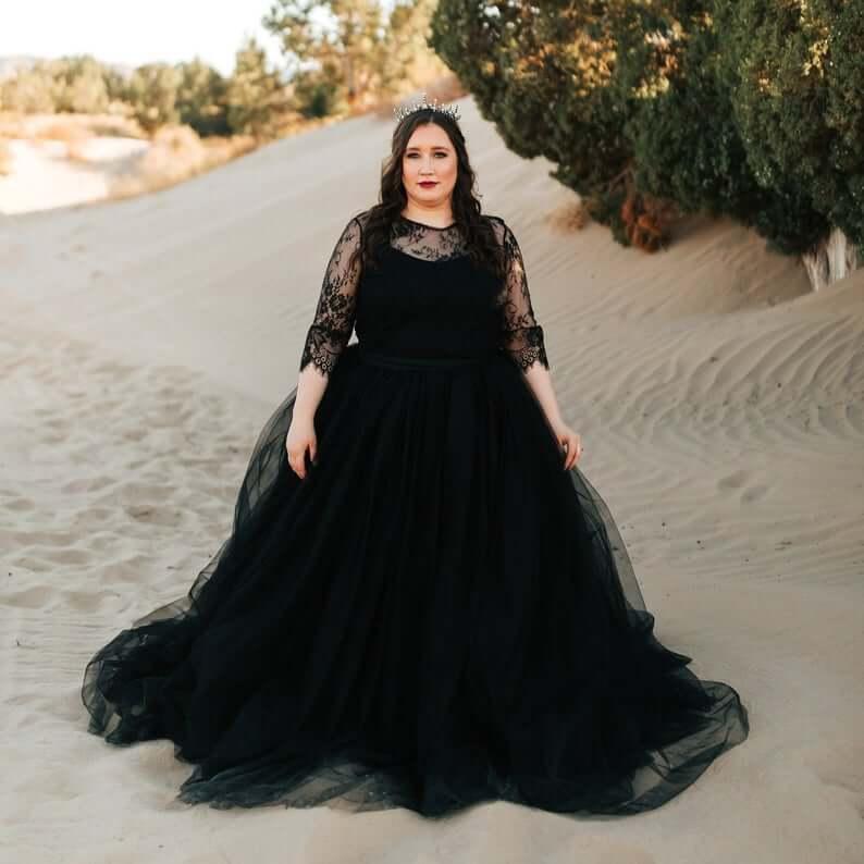 Luxury black bridal gown