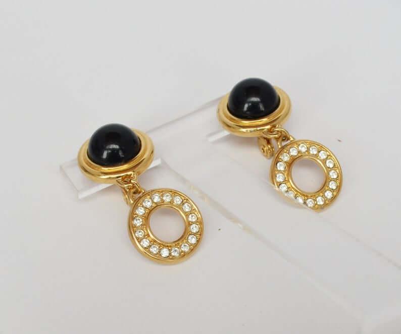 Monet black cabochon dangle earrings