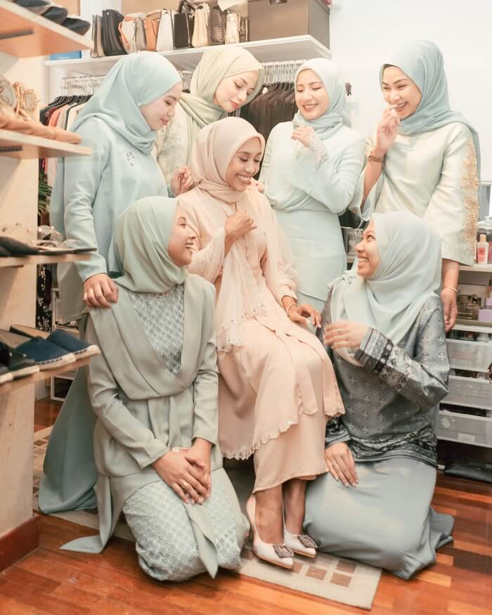 Muslim hijab bride bridesmaid