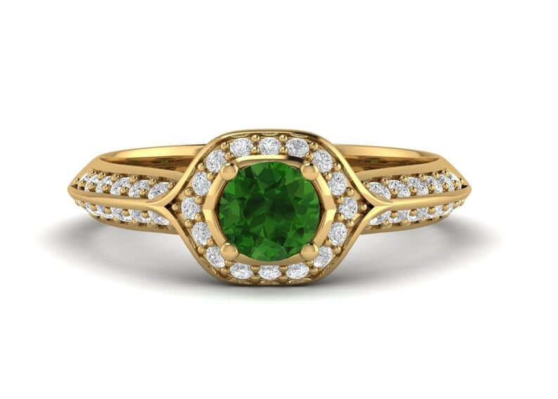 Natural chrome diopside engagement ring