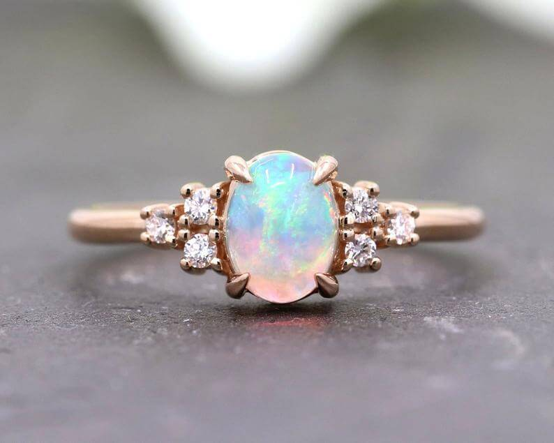 Natural opal engagement ring