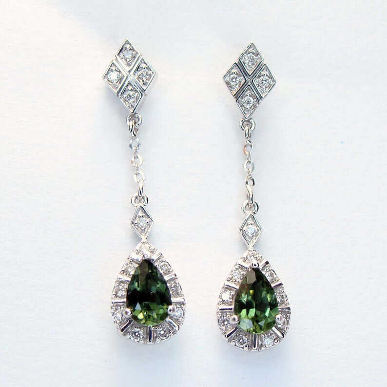 Pear shaped chrome diopside earrings