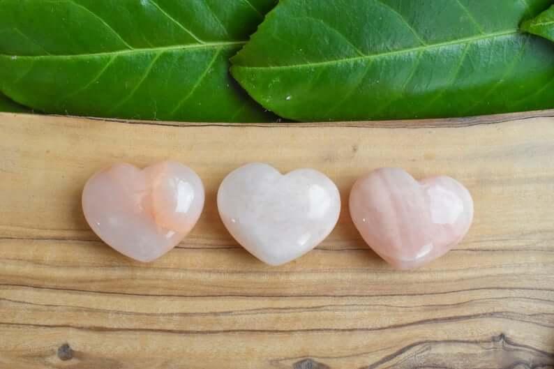 Pink moonstone hearts