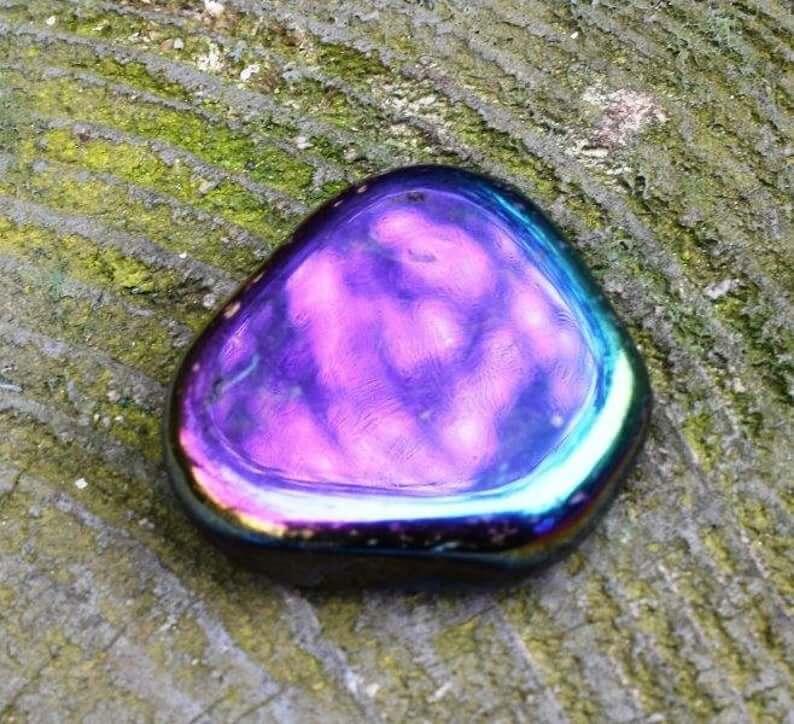 Polished rainbow hematite stone