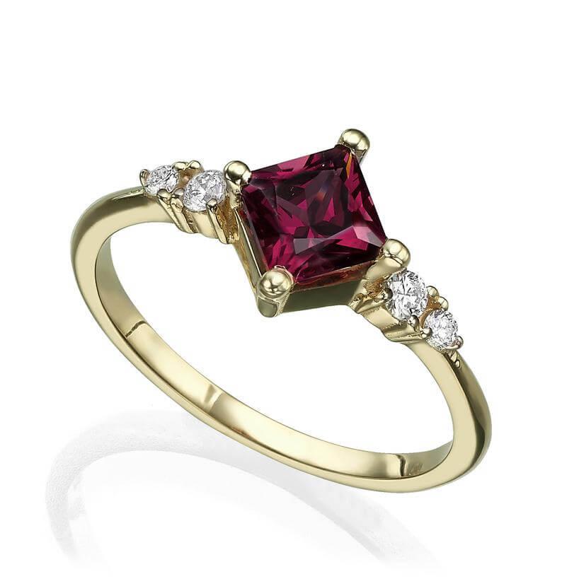 Princess cut rhodolite engagement ring