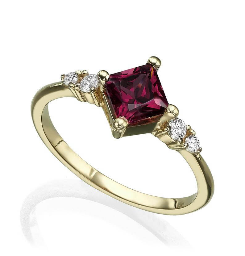 Princess cut rhodolite engagement ring