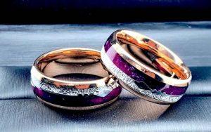 Rose gold meteorite ring