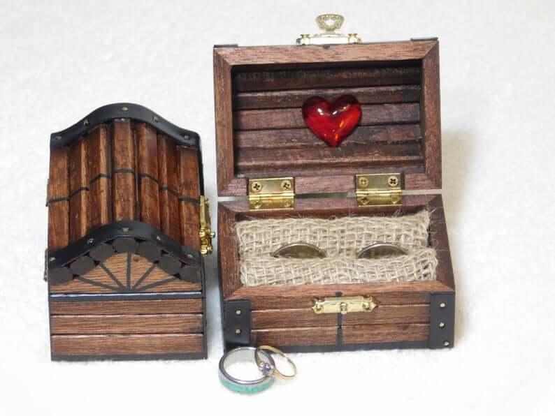 Treasure chest ring bearer box