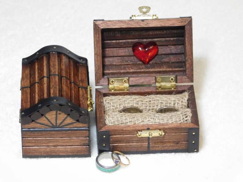 Treasure chest ring bearer box