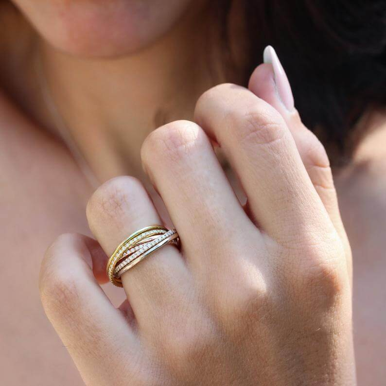 Tricolored Russian wedding ring
