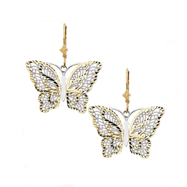 Two tone butterfly earrings
