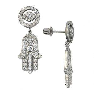 White gold hamsa hand earrings