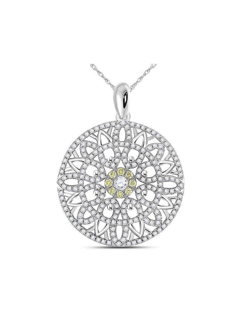 White gold mandala necklace
