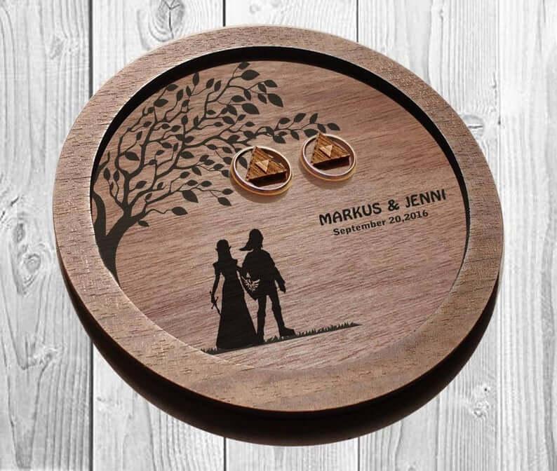Wooden wedding ring dish