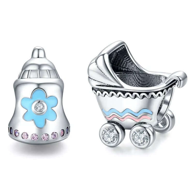 Baby carriage and baby bottle charms