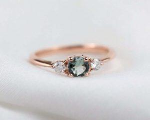 Blue grey tourmaline ring