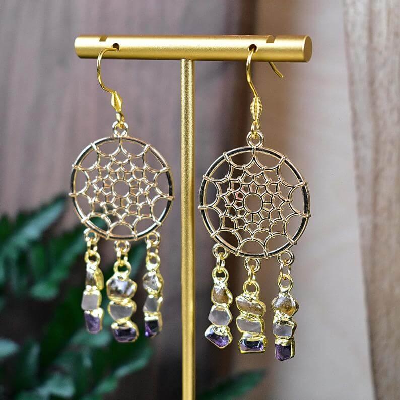 Dream catcher gemstone earrings