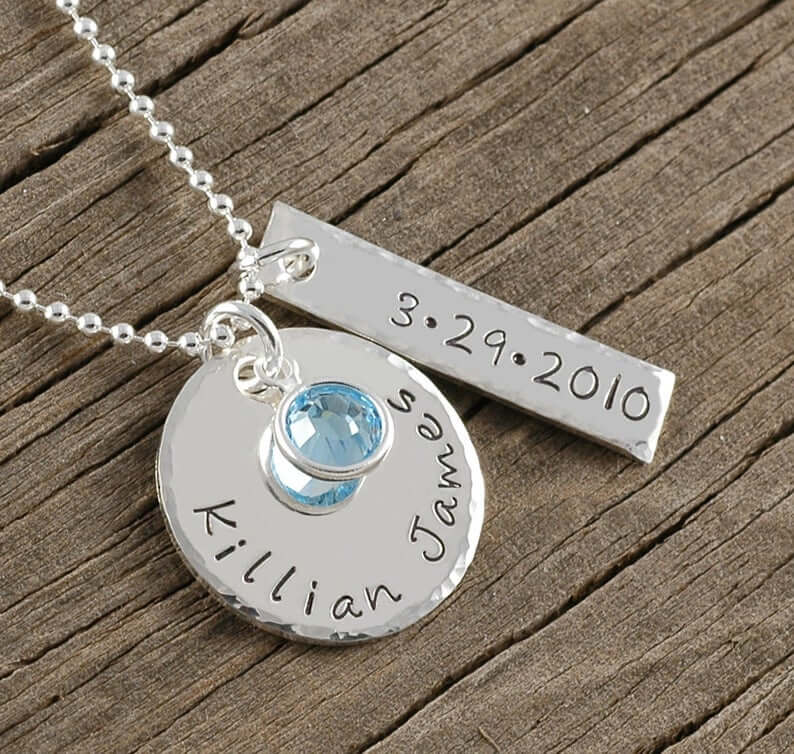 Engraved necklace for new moms