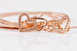 Gold jewelry with gemstones