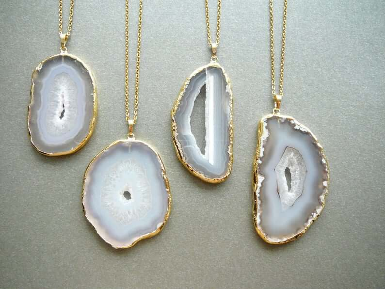 Gray agate pendants