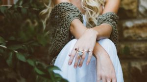 Girl wearing rings