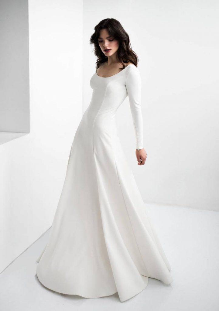Modest crepe wedding dress
