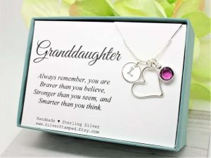 Personalized birthstone necklace for granddaughter