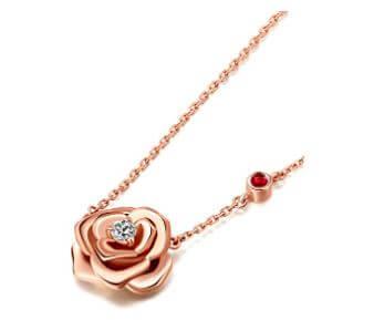 Rose gold flower pendant
