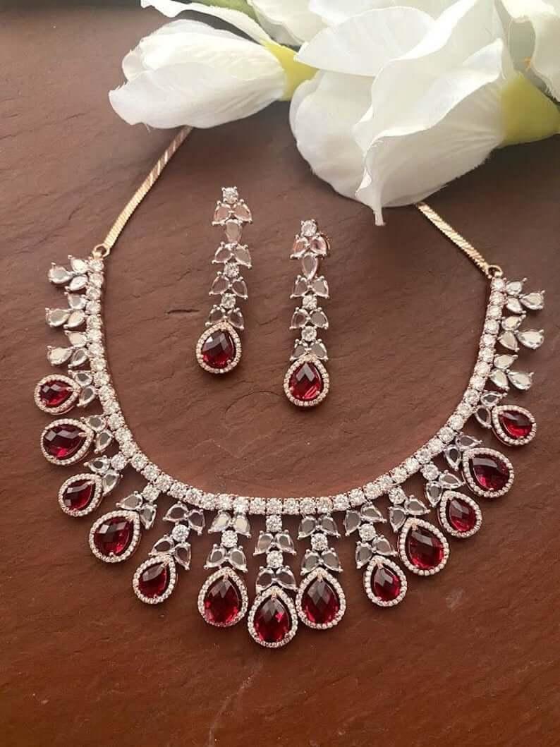 Ruby and diamond Polki set