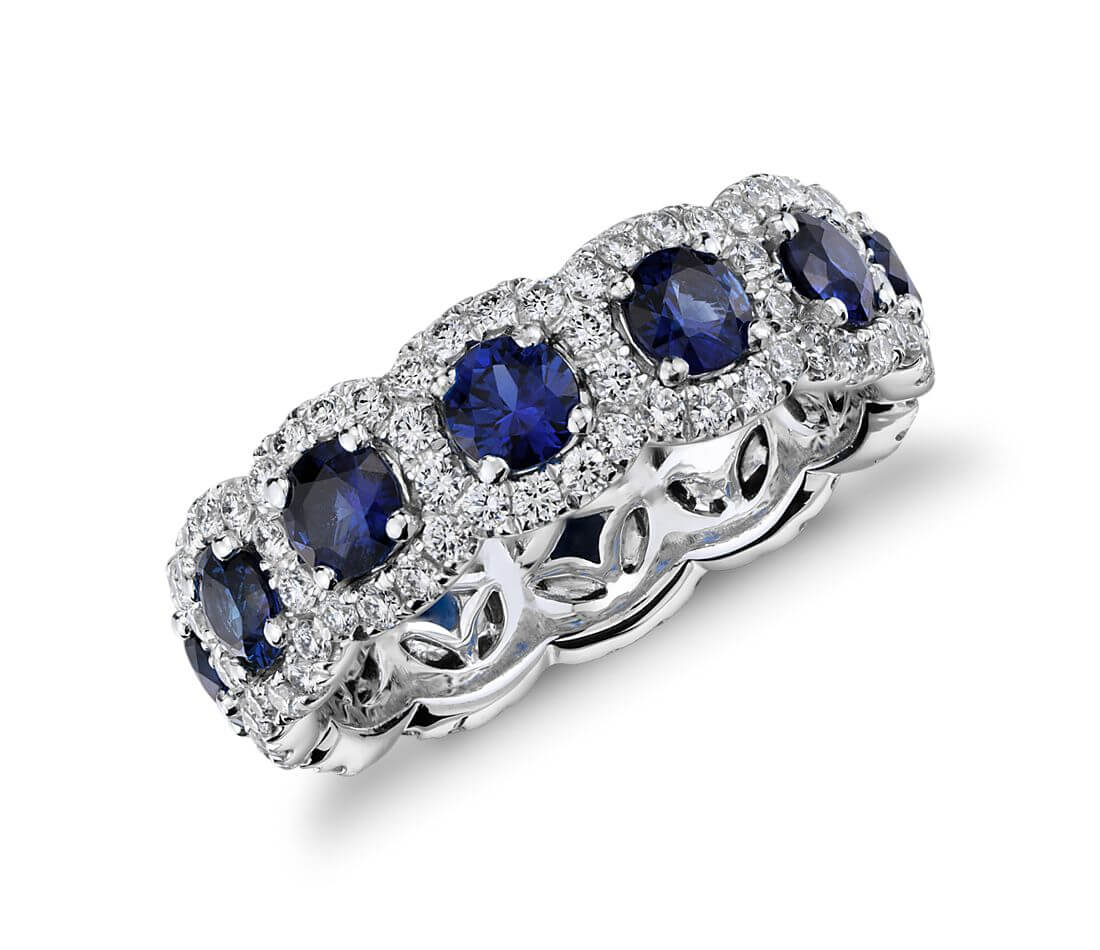 Sapphire and diamond stacking ring