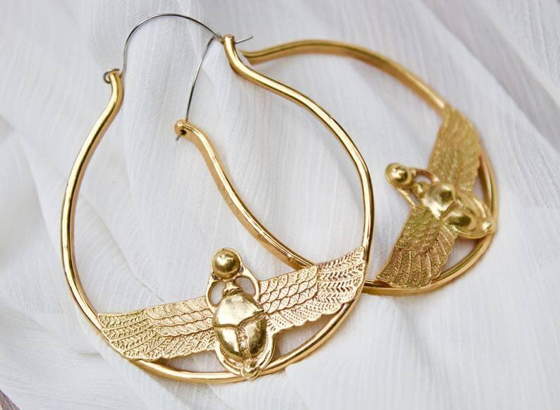 Scarab hoop earrings