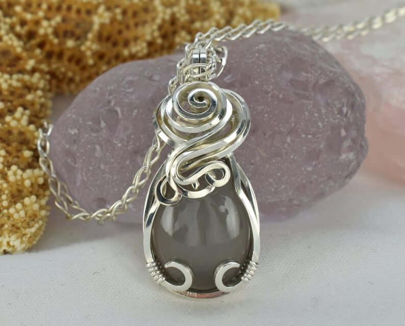 Silky gray moonstone pendant