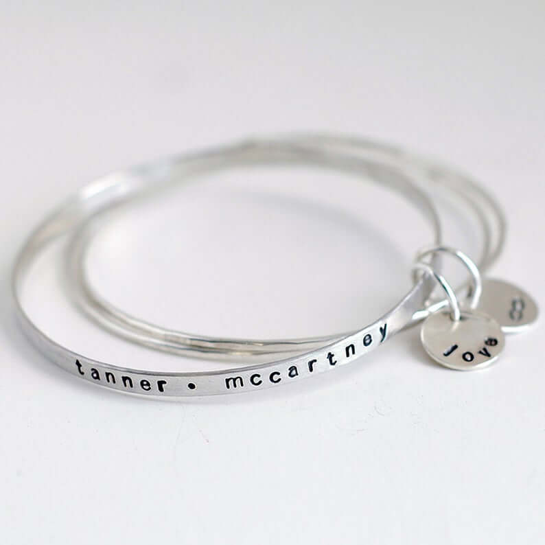 Silver stackable bangle for new mom