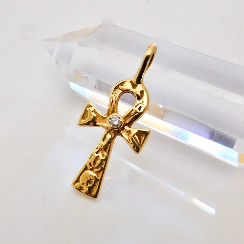 Solid gold ankh pendant