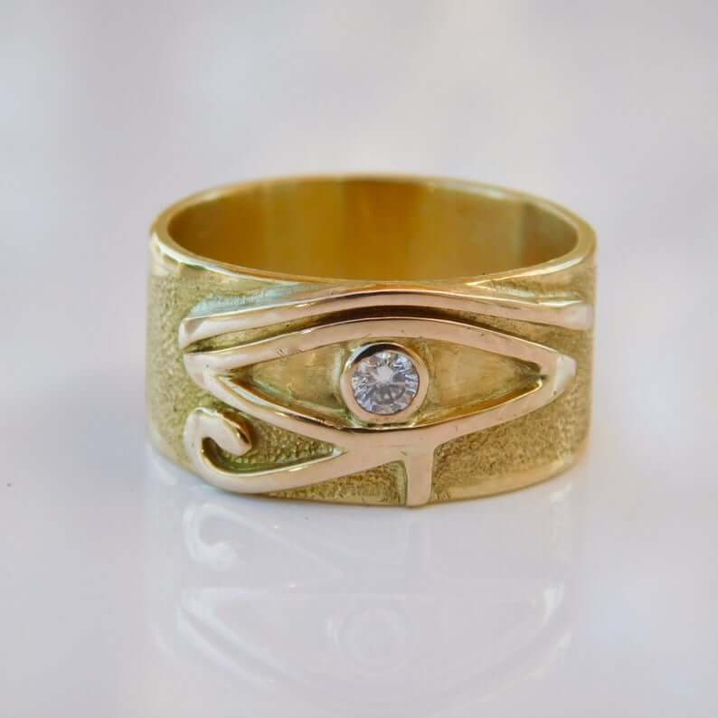 Solid gold eye of Horus ring